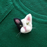Present For Mum - Mother's Day Gift - Cat Brooch - Present For Mom - Needle Felt