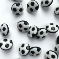 Pack of 10, 13mm round football buttons - black and white