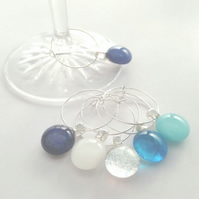 Blue Wine glass charm set