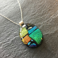 Gold dichroic glass pendant, green fused glass necklace
