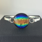 Rainbow bangle, multi-coloured fused dichroic glass bangle