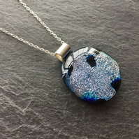 Silver dichroic glass pendant - fused glass jewellery