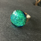 Green sparkly ring, dichroic fused glass - adjustable