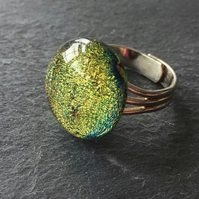 Gold sparkly ring, dichroic fused glass - adjustable