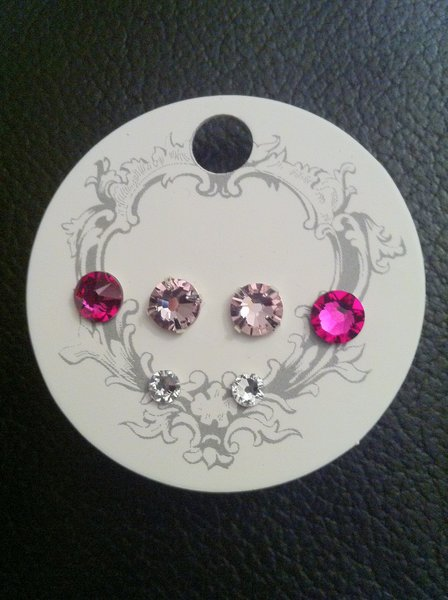 Swarovski Crystal Earrings - Fusia, Light Rose and Clear Crystal