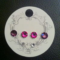 Swarovski Crystal Earrings - Amethyst, Fusia and Clear Crystal