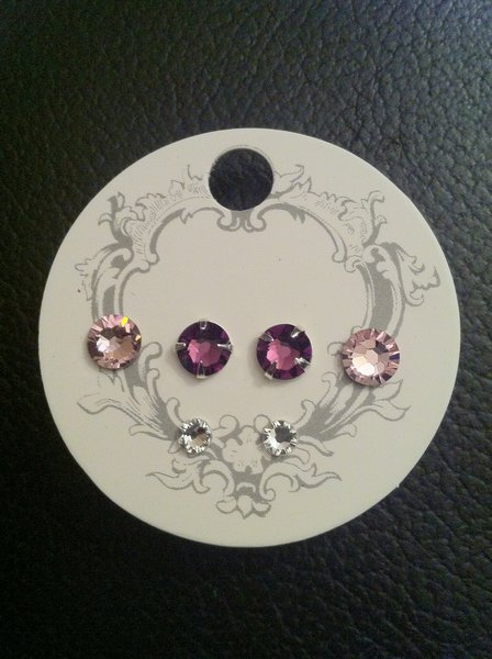 Swarovski Crystal Earrings - Light Rose, Amethyst and Crystal Clear