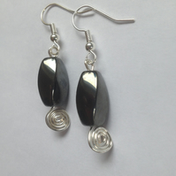 Hematite Spiral Earrings