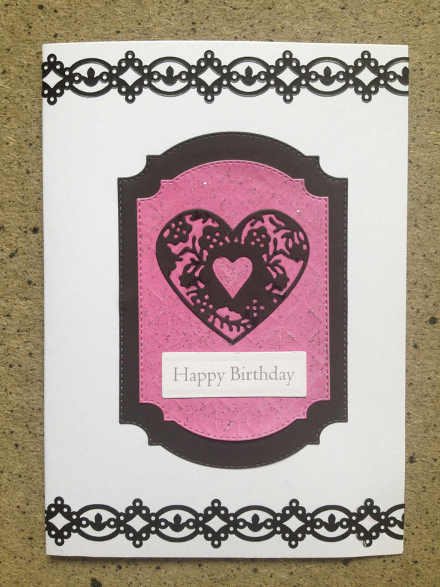 Heart Design Happy Birthday Card