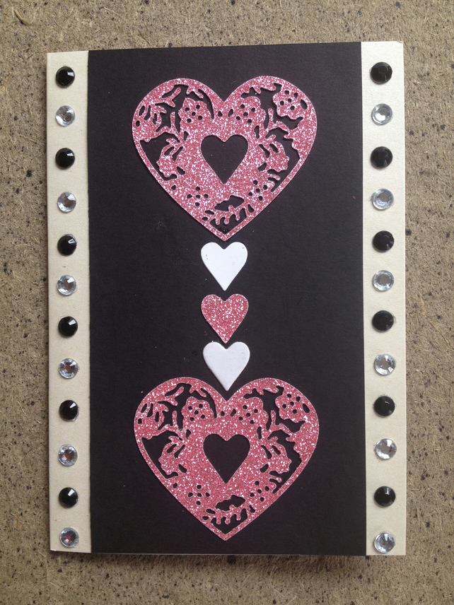 Glitter Heart Greetings card