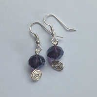 Purple Rondelle Spiral Earrings