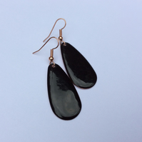 Black Oval Drop Earrings