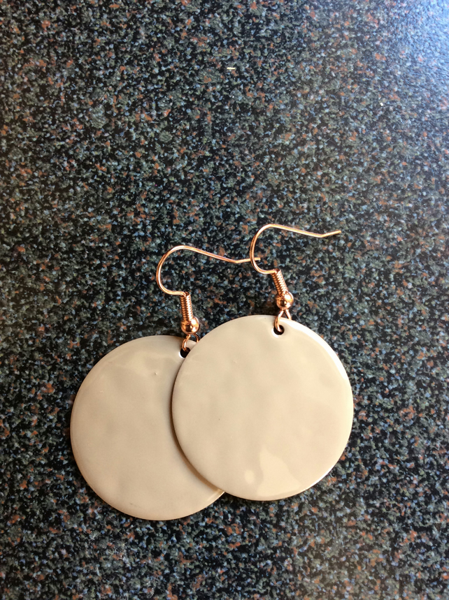Nude Round Disk Earrings