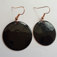 Black Round Disk Earrings