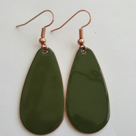 Olive Oval Drop Earrings