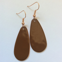Brown Oval Drop Earrings