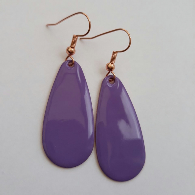 Purple Oval Drop Earrings