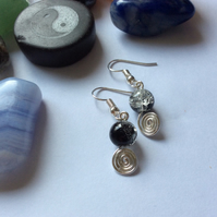 Crackle Bead Spiral Earrings