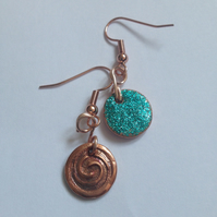 Turquoise Glitter Swirl Earrings