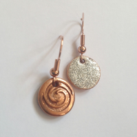 Silver glitter swirl Earrings