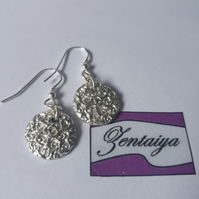 Fine Silver Rose Earrings