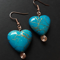 Blue Gold Splash Heart Earrings