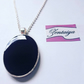 Black Oval Pendant Necklace