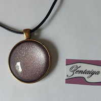 Pink cabochon pendant necklace