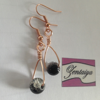 Crackle Bead Swing Earrings