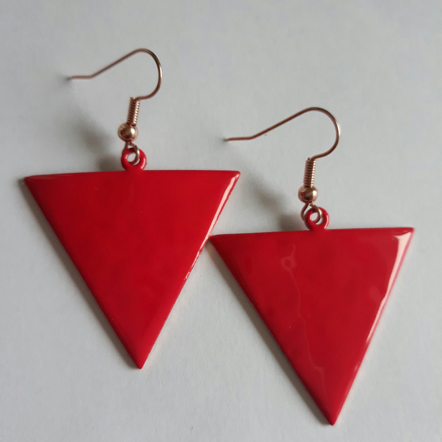 Red Reverse Triangle Earrings