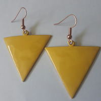 Yellow Reverse Triangle Earrings