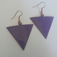 Purple Reverse Triangle Earrings