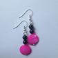Pink shell disc and multi agate bead earrings.