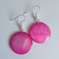 Pink Shell Disc Earrings