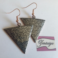 Black and Silver Textured Reverse Triangle Earrings