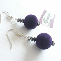 Purple Felt Bead Earrings