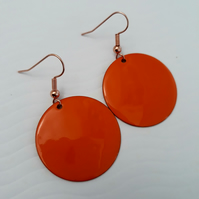 Orange Round Drop Earrings