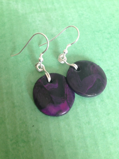 Marble Purple and Black Disc Earrings