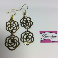 Vintage Double Rose Earrings