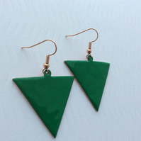 Green Reverse Triangle Earrings