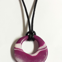 Purple and white hoop necklace.