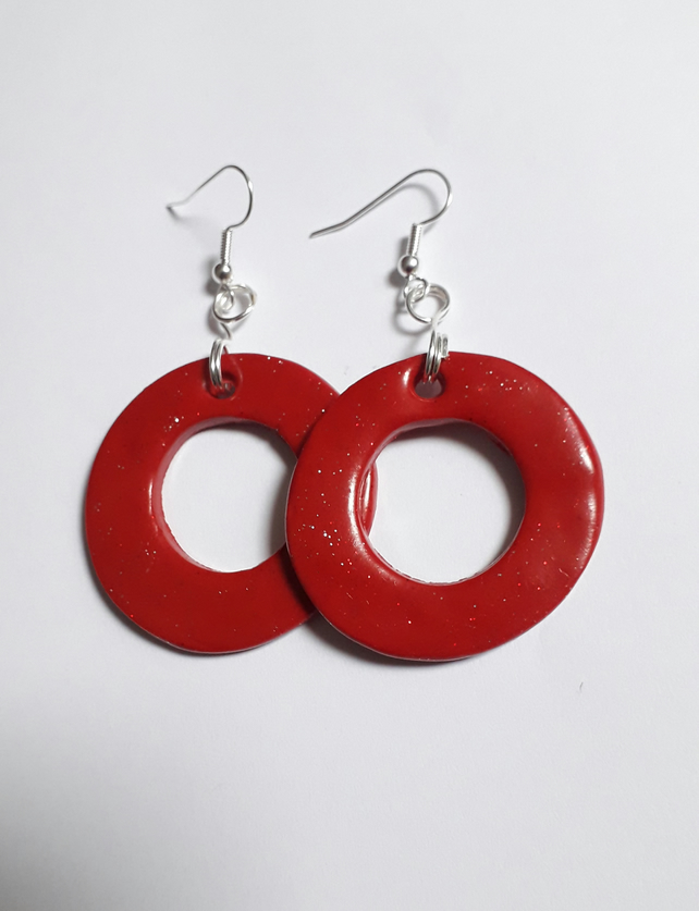 67a4cc528 Red Glitter Hoop Earrings - Folksy