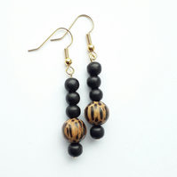Black and brown bead earrings
