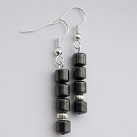 Hematite Drum Dangle Earrings