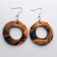 Orange and Black Chunky Hoop Earrings