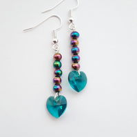 Swarovski Heart Crystal Earrings