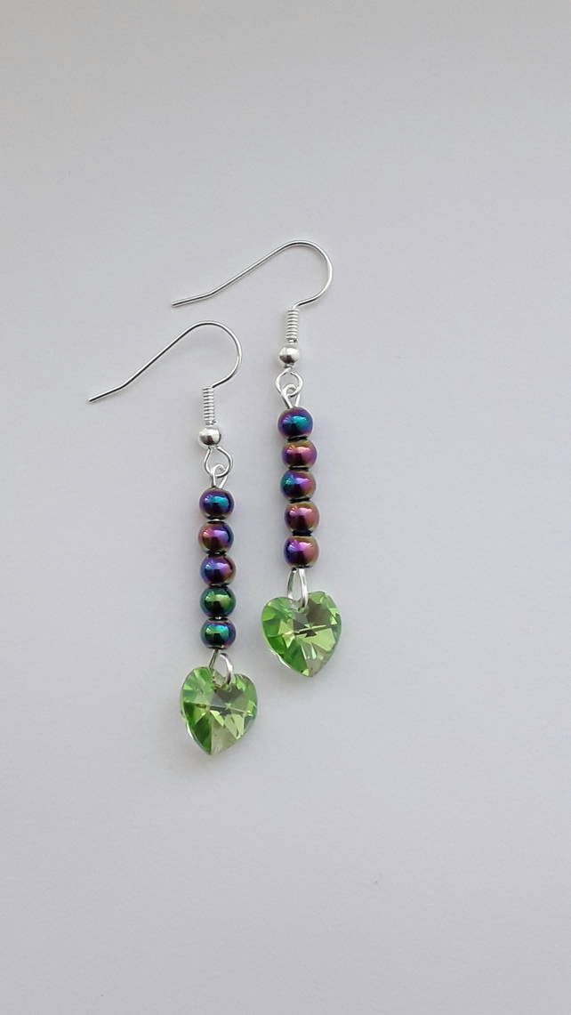 Green Swarovski Heart Bead Earrings