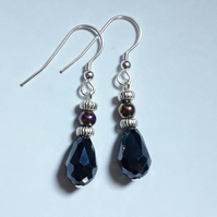 Dark Blue Crystal Earring