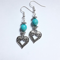 Turquoise Bead Heart Earrings