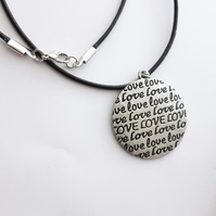 Love Disc Pendant Necklace